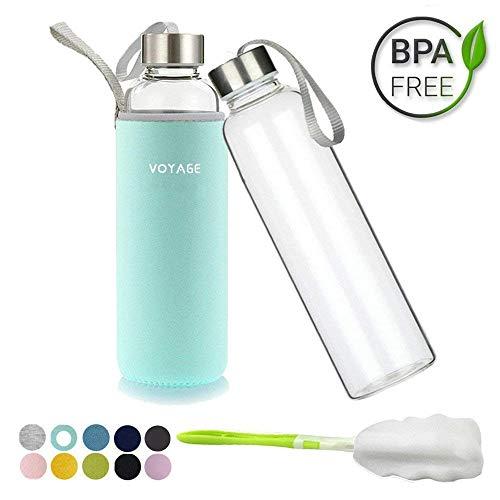 Voarge - Bottiglia di Vetro, priva di BPA (Bisfenolo A), 550 ml, con Borsa in Nylon, Ideale da Portare in Auto, per Strada, per Quando Si Fa Sport, Minze Grüne