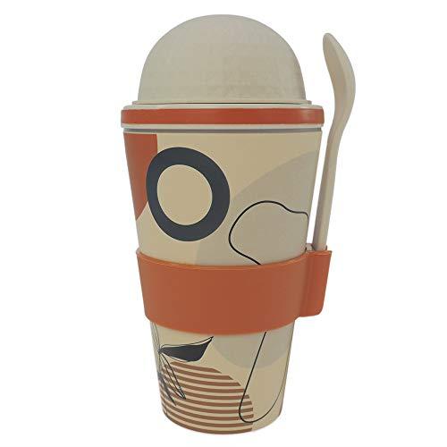 ebos Vaso de cereales para llevar de bambú, sin melamina, para cereales, yogur, varios diseños (Art fantasy, sin melamina)