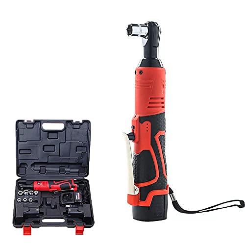 QEWR Juego de llaves de trinquete inalámbricas, destornillador de trinquete eléctrico de 12 V con 10 accesorios, dos baterías de iones de litio y carga rápida de 60 minutos, rojo