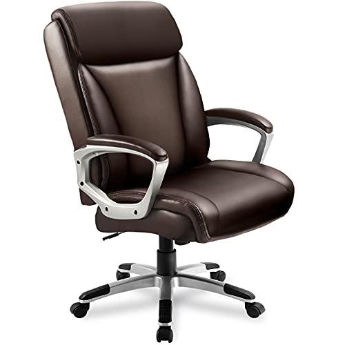 COMHOMA Sedia Ufficio Scrivania Ergonomica Poltrona Girevole con Braccioli Imbottiti Sedie per Computer da Lavoro