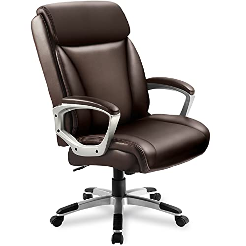 ComHoma Executive Office Computer Desk Chair High Back Comfortable Ergonomic Managerial Chair Adjustable PU Leather Home Office Desk Chair Swivel Brown