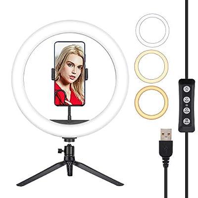 "Hiapix Selfie Ring Light, 12"" Dimmable Desk..."
