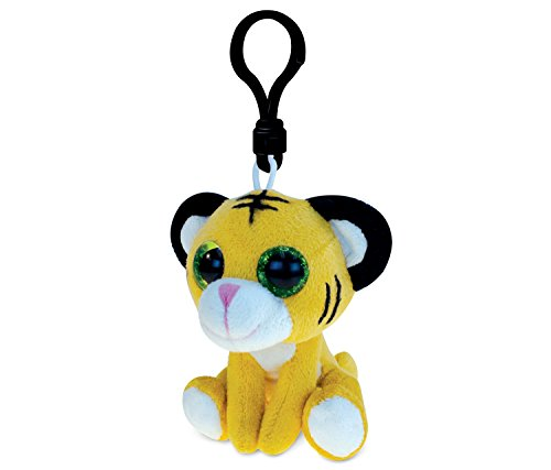 DolliBu Tiger Plush Big Eyes Keychain Stuffed Animal - Soft Wild Jungle Animal Charm with Sparkling Big Eyes, Decorative Zoo Plush Toy Accessory & Fun Buddy Clip for Kids Keys, Purse, Backpack, Bags