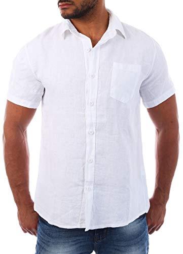 Young & Rich Herren Leinenhemd Kurzarm körperbetonte Passform sommerlich Leichter 100% Leinenstoff Slim Fit T3158, Grösse:XL, Farbe:Weiß