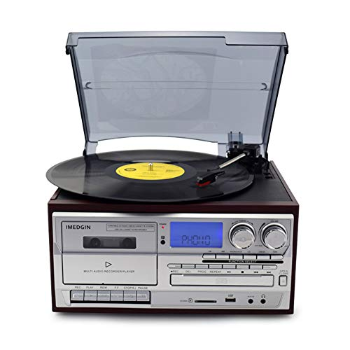 DJG 3 Speed Bluetooth Vinyl Record Player Vintage Turntable CD&Cassette Player AM/FM Radio USB Recorder Aux-in RCA Line-Out