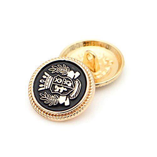 【選べるサイズ】メタルボタン 15mm 20mm ゴールドボタン 金ボタン 黒ボタン ブレザーボタン スーツボタン 袖口ボタン 制服ボタン コート 手芸 裁縫 素材 材料 レザークラフト ハンドメイド (小:8個セット)