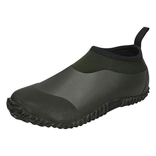 DAWAN Men's Garden Shoes Waterproof Women's Short Rain Boots Rubber Comfortable Unisex Neoprene Slip On Rainboots with Soft Insole for Yard Work