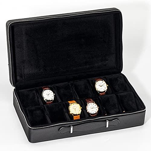 ROUHO Bolso clásico de Gama Alta del Reloj, Bolso de Cuero portátil de Lujo Ligero de la joyería del Reloj de la protección