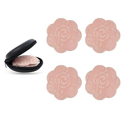 KQueenStar Nipple Cover - Silikon Nippelabdeckung Gel Brustwarzenabdeckung Selbstklebend & Wiederverwendbar Brust Aufkleber unter BH, Spitze Hautfarbe, M