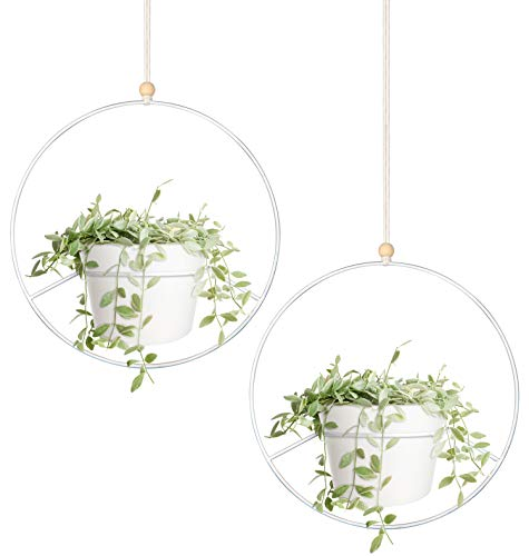 Mkono Boho Hanging Planter, Set of 2 Round Metal Plant Hanger with Plastic Plant Pot, Modern Wall and Ceiling Planter Mid Century Flower Pot Holder, Fits 6 Inch Planter (Plastic Pots Included), White