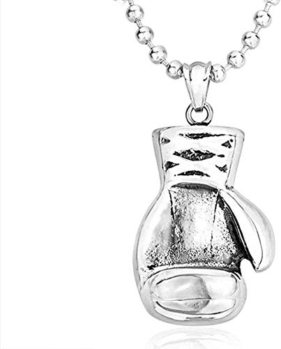 WLHLFL Halskette 316l Edelstahl Anhänger Halskette Riesige schwere Schwarze Boxkampf Match Boxhandschuh Anhänger Schmuck Geschenk für Frauen Männer Geschenke