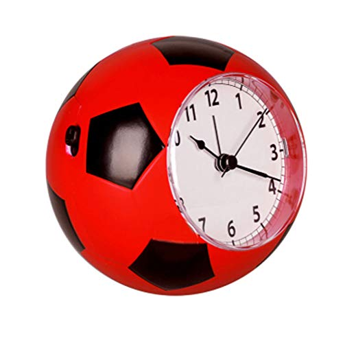 kerryshop Reloj Despertador Mute de fútbol Pequeño Despertador Moda Personalidad Infantil Música Mesita de Noche Reloj Despertador 5 Colores Opcionales Reloj de Escritorio (Color : Red)