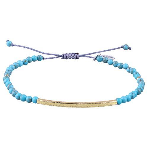Kelitch - Braccialetto per uomo e donna, placcato oro, con pietra naturale, intrecciata a mano, braccialetto dell'amicizia e placcato Oro, colore: Blu, cod. AZXK-187005C