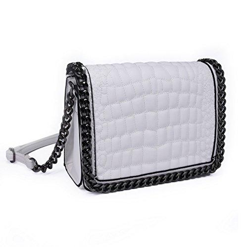 CRAZYCHIC - Damen Kroko Muster Ketten Umhängetasche - Mini Kleine Krokodile Leder Gesteppte Schultertasche - Kroko PU Stil Handtasche - Quadratische Messenger Crossbody Bag - Mode Trendy - Weiß