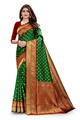 Saundraya Women's Kanchipuram Jaquard Silk Saree