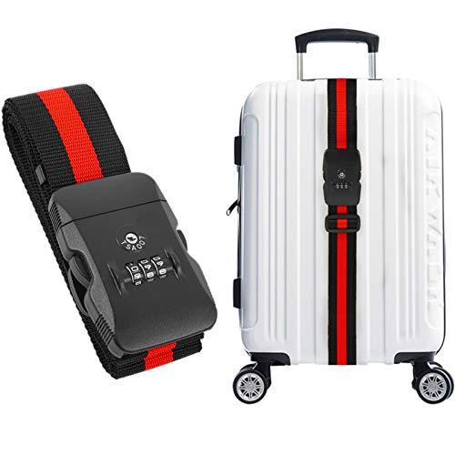 Correa de equipaje Correa cruzada Correas de equipaje Bolsa de maleta de viaje Correa de seguridad Cerradura de combinación TSA(Rosso)