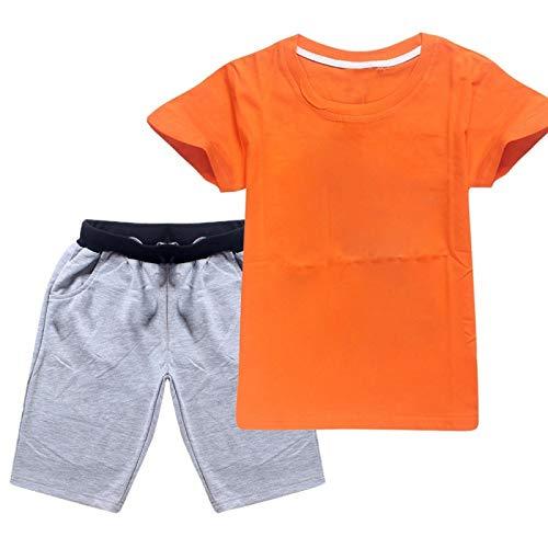 Ropa de Verano para niños Camisas de Manga Corta con Pantalones Cortos elásticos Conjuntos de Pantalones para 2-16Y Naranja Gris 140CM