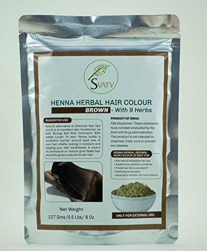 SVATV - Henna Haarfarbe BRAUN mit 9 Kräutern II Mehndi für Haare, natürliche Haarfarbe II 227 g, 0,5 lb, 08 oz