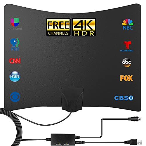 TV Antenna - Amplified HD Digital Indoor TV Antenna 250+ Miles Long Range - Compatible 4K 1080p Fire tv Stick and All Older TVs with Amplifier Signal Booster for Free Channels