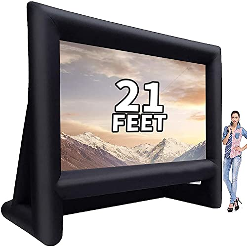 GYUEM 21 feet Inflatable Outdoor Projector Movie Screen - Blow Up Screen for TV & Movies with Blower Portable Projection Screen for Home Theater Outdoor Indoor Support Front & Rear Projection