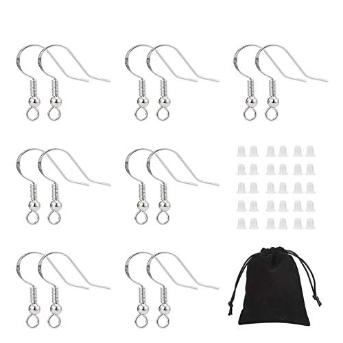 tao pipe 240PCS 925 Sterling Earring Hooks Ear Wire Hooks Fish Hook Earring Perfect Jewelry DIY Kits with Clear Earring Safety Backs and Storage Bag