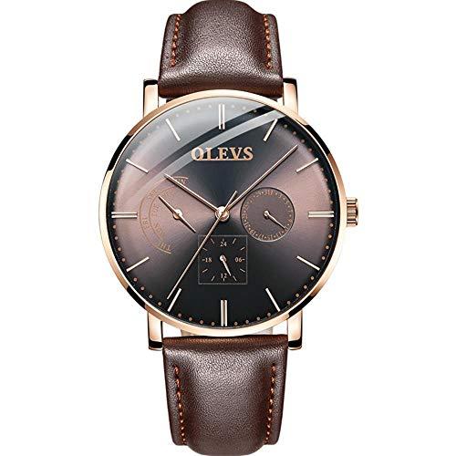 Armbanduhren,Multifunktionale Automatische Mechanische Uhr Lederarmband wasserdichte Herrenuhr, Braune Leder Rose Shell Kaffee Nudel