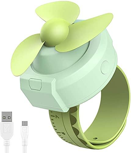 Ventilador portátil, USB, pequeño para la muñeca, Ventilador Personal, batería Recargable, 2 velocidades, patrón Divertido Ajustable, Ventilador de Mano para Deportes, Oficina, Viajes al Aire Libre