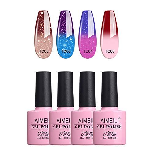 AIMEILI UV LED Thermo Gellack mehrfarbig ablösbarer Temperatur Farbwechsel Nagellack Chameleon Gel Polish Set - 4 x 10ml - Kit Nummer 11