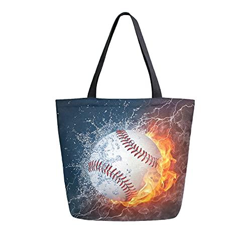 SunsetTrip Segeltuch-Tragetasche für Frauen, Sport, Weltraum, Feuer, Eis, Baseball, Schultertasche, wiederverwendbar, große Einkaufstasche, Einkaufstasche, Handtasche mit Innentasche