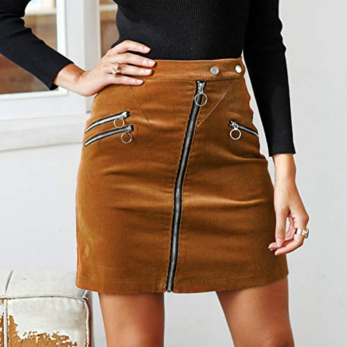 QBXDQ Kurzer Rock Vintage Bleistiftrock Mode Streetwear Reißverschluss Gefälschte Tasche Kurzen Rock Cord Miniröcke Frauen