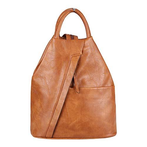 OBC Damen Rucksack Tasche Schultertasche Leder Optik Daypack Backpack Handtasche Tagesrucksack Cityrucksack (Cognac)