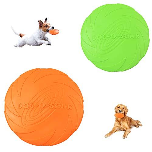 Perros De Goma Frisbee Perros Frisbee Mascotas De Goma Frisbee Perro Platillo Volador En Tierra y Agua, Adiestramiento De Perros, Lanzar, Atrapar y Jugar (15 Cm Verde + 18 Cm Naranja)