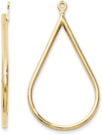 14K Yellow Gold Polished Teardrop Earring Jackets