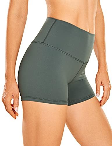 CRZ YOGA Mujer Pantalones Cortos Deportivos de Cintura Alta Running Pantalones Cortos-10cm Sabio Gris 46