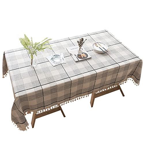 Mesa de algodón y Lino Decoración del hogar Cubierta de celosía Mantel Rectangular Mesa de Centro de Fiesta 140x200cm Gris Claro