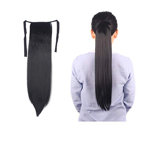LHFLIVE One Piece Binding Ponytail Hairpiece Clip in Straight Pony Tail Hair Extensions for Girl Lady Woman 100g 22inch(Dark Black)