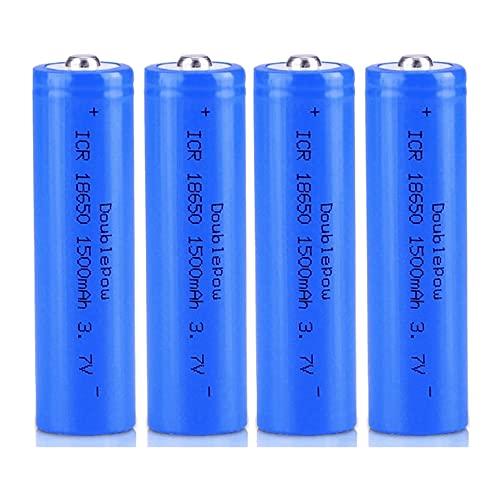 3.7 v Batterie 18650 Batteries Rechargeables,Batterie Pleine capacité 1500mah 3.7v ICR Lithium Batteries Bouton Top Piles Rechargeable Batteries pour Lampe de Poche Phare,18x65mm(4 Pcs)