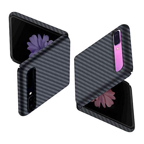 CENMASO Compatible with Samsung Z Flip Case, [Real Body Armor Material] 3D-Grip 100% Aramid Fiber Minimalist Phone Case for Samsung Z Flip 5g- Black