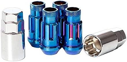 Wheelmate 32901UN Muteki SR48 Open End Locking Lug Nut, Burning Blue Neon, 12 x 1.25, 48mm, Set of 4