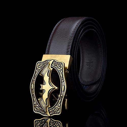 Txrh Gürtel Gurte for Herrenmode Fledermaus Batman automatische Schnalle Gürtel echtes Leder Kemer for Jeans Riem Cinto (Belt Length : 115CM, Color : PD747 Brown)