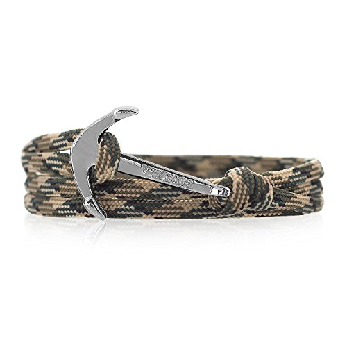 Anker Armband Nylon COLORFUL Modeschmuck Maritim Unisex, Ankerfarbe: Silber (In the Army)