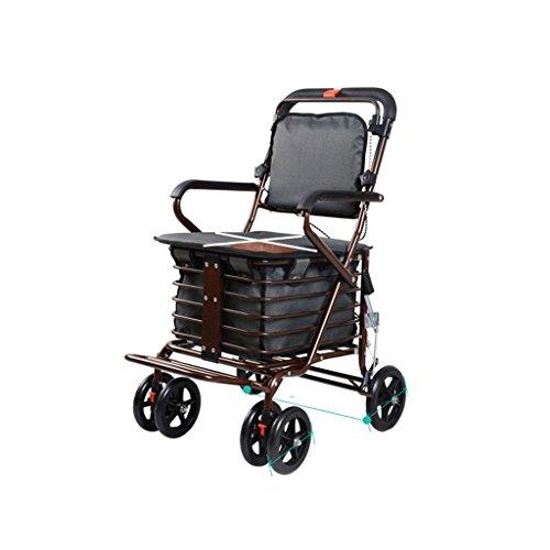 Der ältere Hand-LKW-Einkaufswagen-Kleiner Zug Die Auto-ältere Schubkarre kann drücken, um faltbaren Walker Four Shopping Scooter zu sitzen (Farbe : Gray)