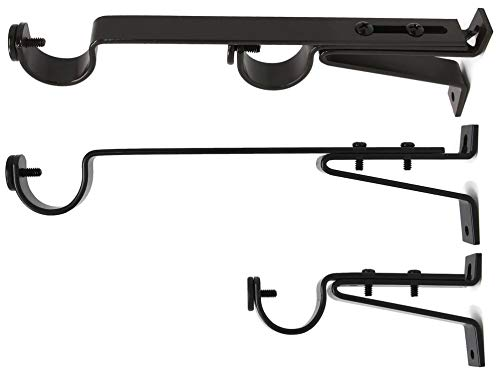 """Urbanest Long Double Drapery Curtain Window Rod Bracket Holder, Up to 1.25"""" Rod - Oil-Rubbed Bronze, 2 Pieces"""
