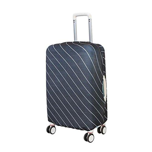 prevently marca nueva alta calidad brillante de color blanco rayas traje protector funda elástica para equipaje maleta a prueba de bolsa de viaje para maleta para 18–20pulgadas, negro