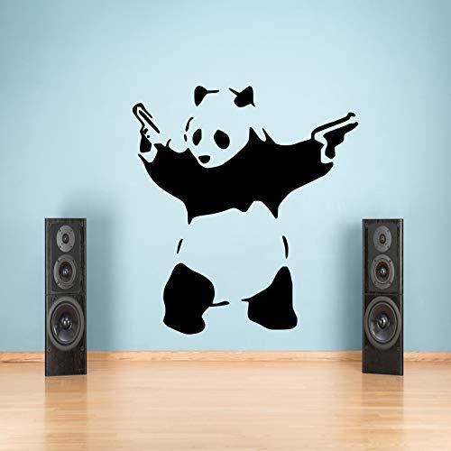 Large Banksy Panda Graffiti Wandaufkleber Vinyl-Aufkleber Vinyl Decal Transfer Graphic Schlafzimmer 55x100 Black
