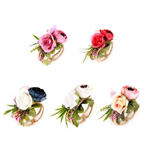 Lurrose 5 Piezas Ramilletes de Muñeca Pulsera de Flor Realista Decoración de Boda para Dama de Honor Novias
