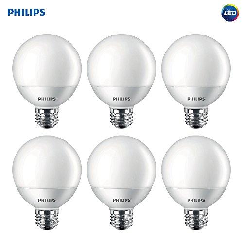 Philips LED Non-Dimmable G25 Frosted Light Bulb: 500-Lumen, 2700-Kelvin, 6.5-Watt (60-Watt Equivalent), E26 Base, Soft White, 6-Pack