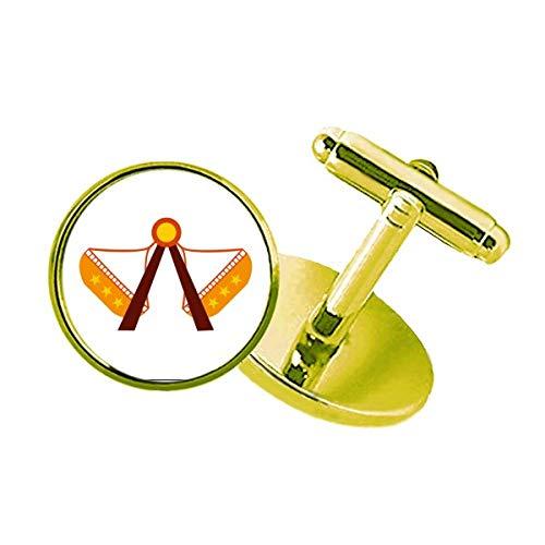 CaoGSH Parque de diversiones Color instalaciones ilustración Gemelos de Metal con Tachuelas para Negocios Dorado
