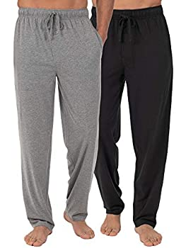 Fruit of the Loom Men s Extended Sizes Jersey Knit Sleep Pant  2-Pack  Black/Light Grey Large