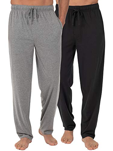 Fruit of the Loom Men's Extended Sizes Jersey Knit Sleep Pant (2-Pack), Black/Light Grey, X-Large